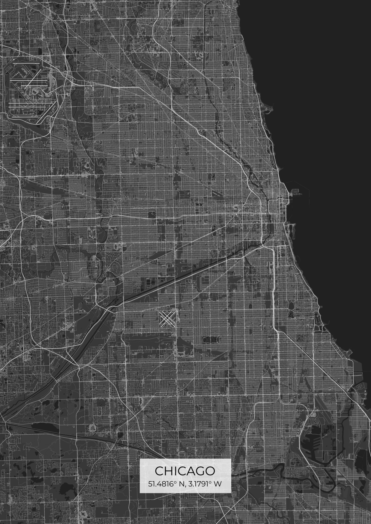 Custom Chicago City Map Posters