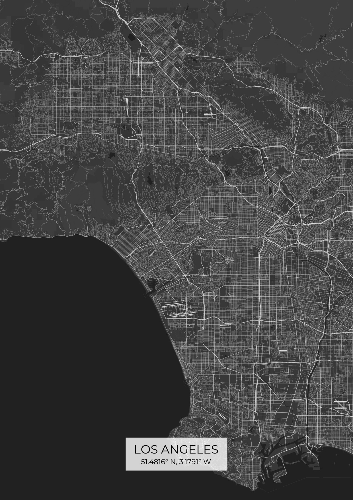 Custom Los Angeles City Map Posters
