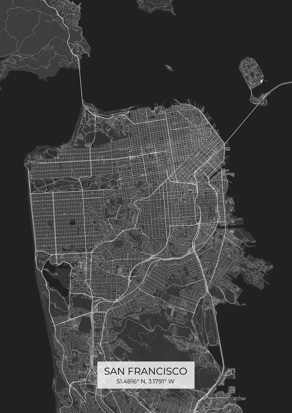 Custom San Francisco City Map Posters