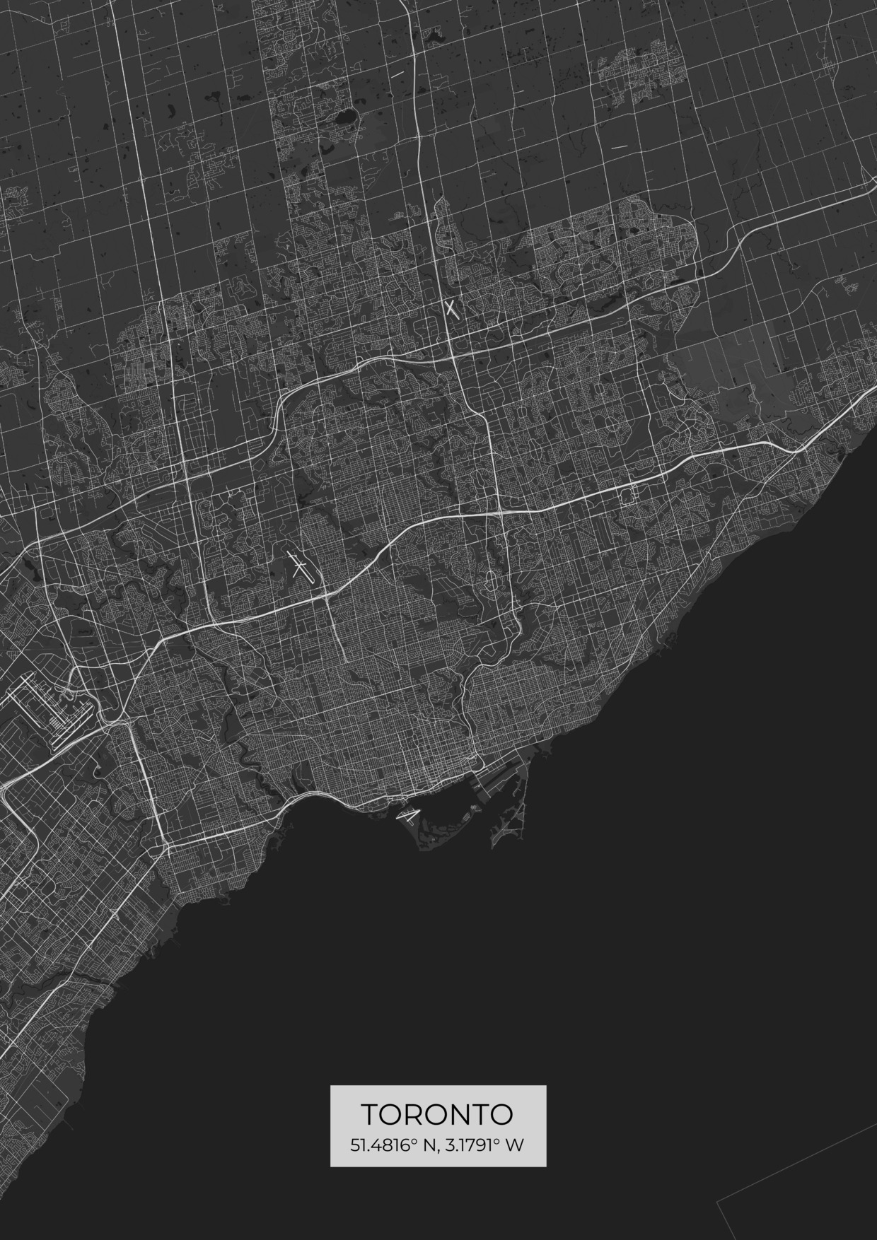 Custom Toronto City Map Posters