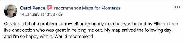 Maps for Moments quick delivery customer testimonial number two